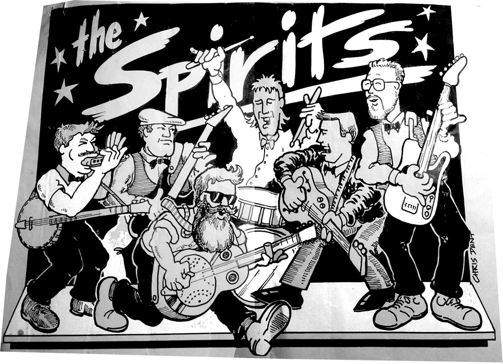 The Spirits Blues Band - a cartoon of the original line up